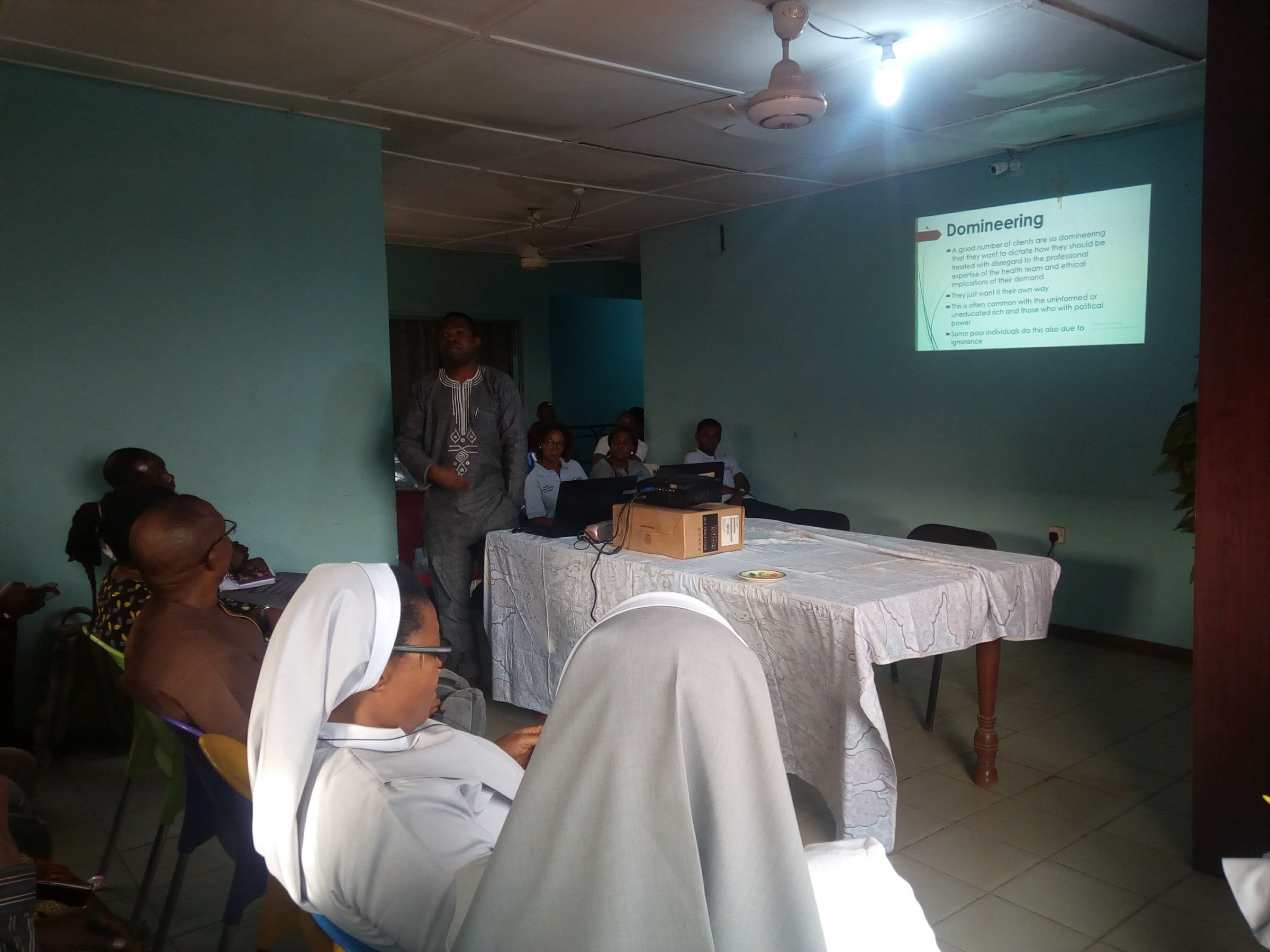 Doctor delivering Lecture on how to manage difficult Patients